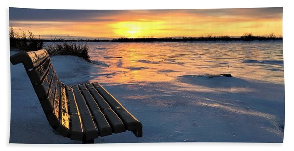 Winter Sunset Beach Towel