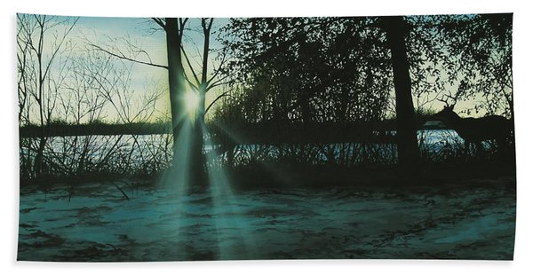 Winter's Evening Scout Beach Towel