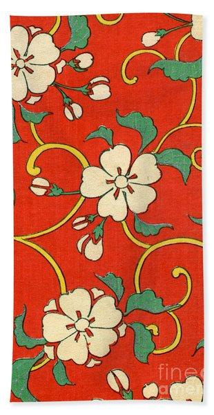 Woodblock Print Of Apple Blossoms Beach Towel