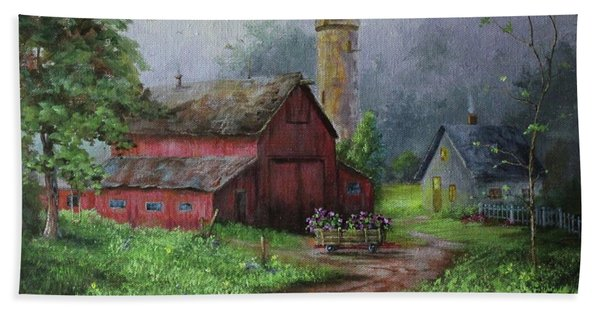Beach Towel featuring the painting Wooden Cart by Judy Bradley