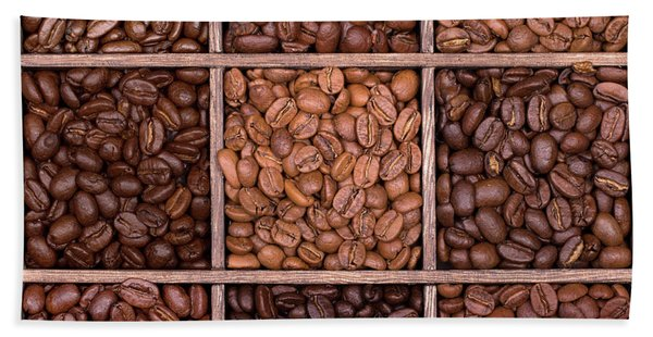 Wooden Storage Box Filled With Coffee Beans Beach Towel