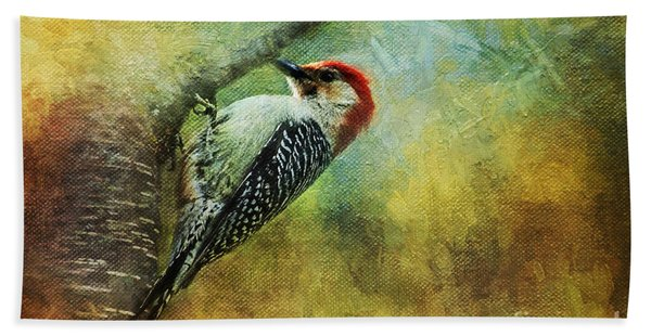 Woodpecker On Cherry Tree Beach Towel