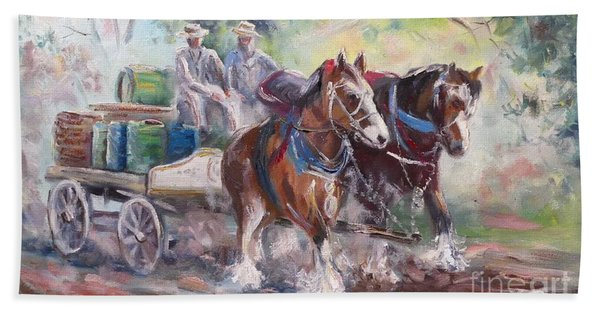 Working Clydesdale Pair, Victoria Breweries. Beach Towel