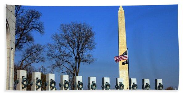 World War II Memorial And Washington Monument Beach Towel