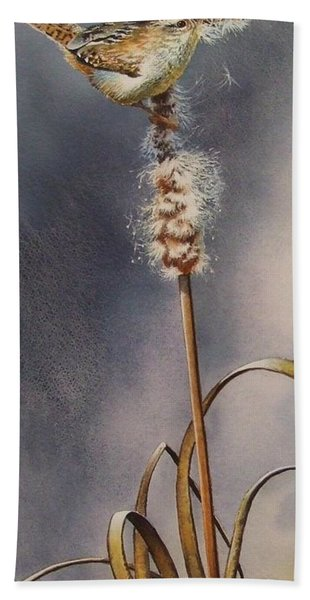 Wren And Cattails Beach Towel