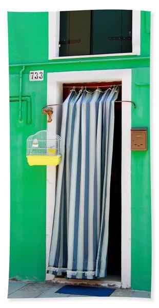 Yellow Birdcage- By Linda Woods Beach Towel