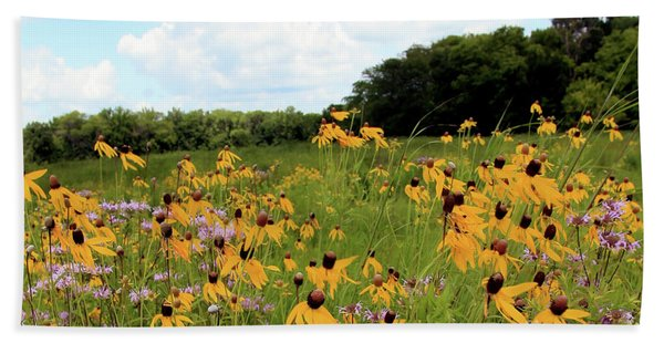 Yellow Cone Flowers Beach Towel