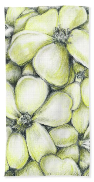 Yellow Flowers Pencil Beach Towel