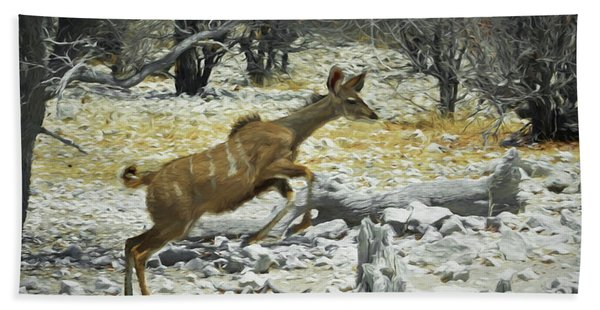 Young Kudu Jump Beach Towel