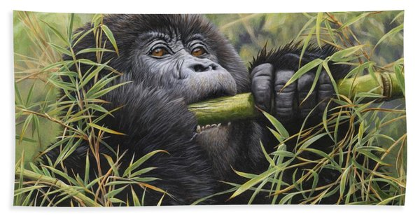 Young Mountain Gorilla Beach Towel