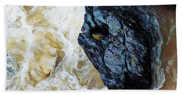 Yuba Blue Boulder In Stormy Waters Beach Towel