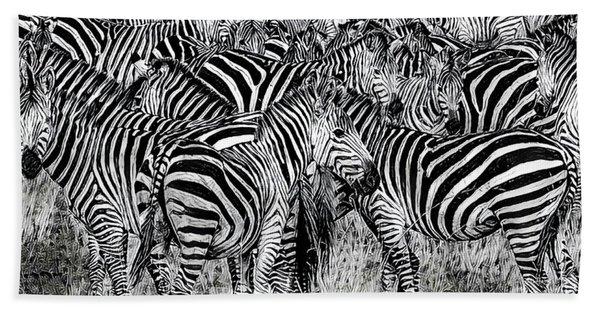 Zebra - Black And White Beach Towel