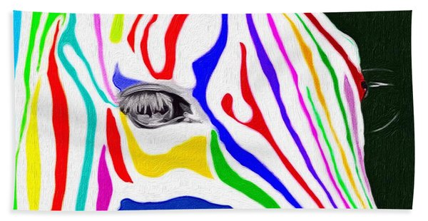 Beach Towel featuring the painting Zebra Nothing Is Black And White by Mark Taylor