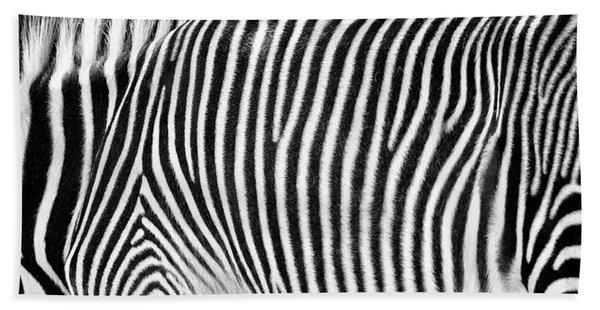 Zebra Print Black And White Horizontal Crop Beach Towel
