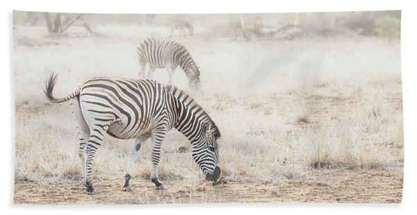 Zebras In Dreamy Scene - Horizontal Banner Beach Towel