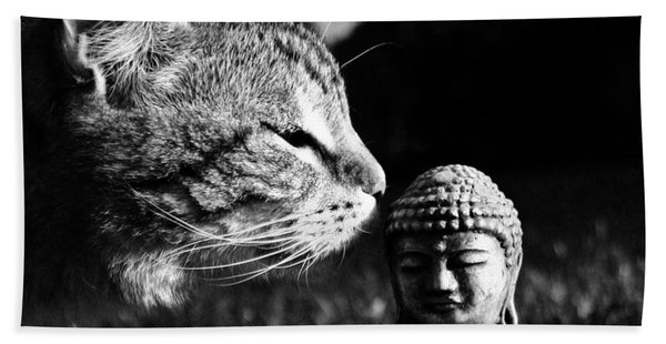 Zen Cat Black And White- Photography By Linda Woods Beach Towel