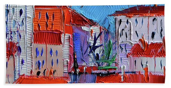 Zoom On Croix-rousse - Lyon France - Palette Knife Oil Painting By Mona Edulesco Beach Towel