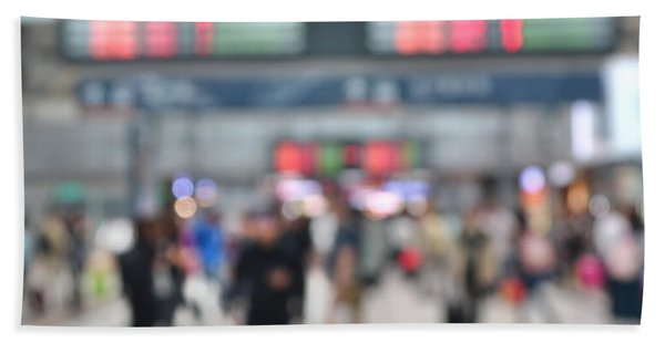 Blurred Background Of Busy Transportation Hub Beach Towel