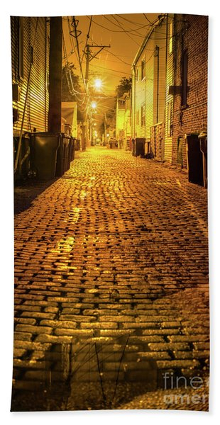 Chicago Alley At Night Beach Towel