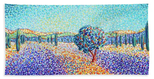 Lavender Field In Provence Beach Towel