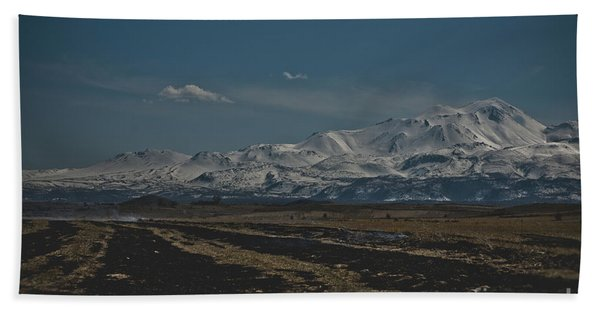 Snow-covered Mountains In The Turkish Region Of Capaddocia. Beach Towel