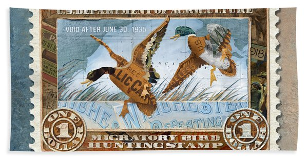 1934 Hunting Stamp Collage Beach Towel