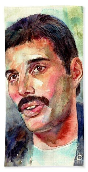 Freddie Mercury Watercolor Beach Towel