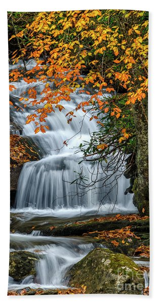 Waterfall And Fall Color Beach Towel