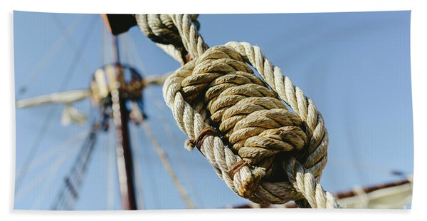 Rigging And Ropes On An Old Sailing Ship To Sail In Summer. Beach Towel