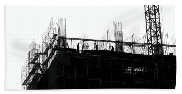Large Scale Construction In Outline Beach Towel