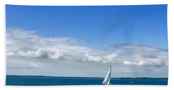 A Single Sailboat In Blue Beach Towel