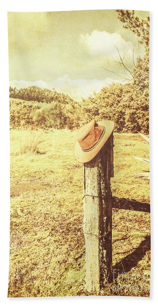 Abandoned Cowboy Hat On Tree Trunk Beach Towel