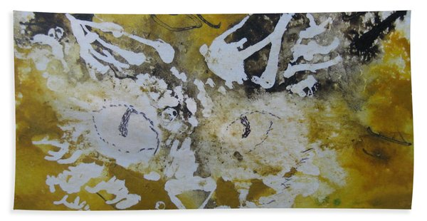 Abstract Cat Face Yellows And Browns Beach Towel