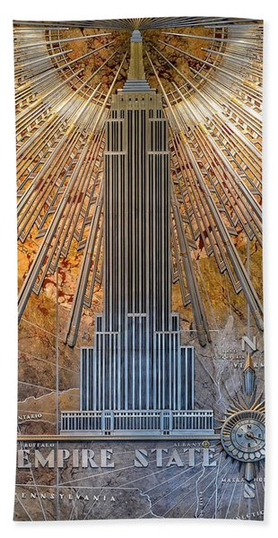 Aluminum Relief Inside The Empire State Building - New York Beach Towel