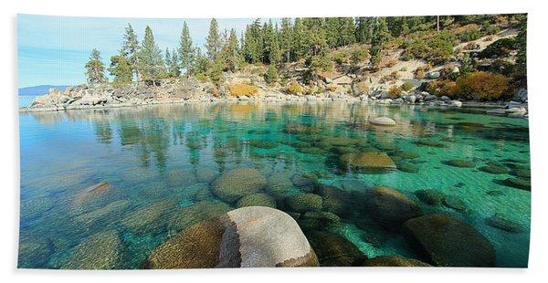 Beach Towel featuring the photograph Aqua Autumn  by Sean Sarsfield