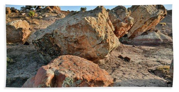 Balanced Rocks In Bentonite Site Beach Towel