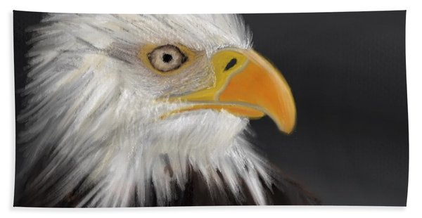 Beach Towel featuring the pastel Bald Eagle by Fe Jones
