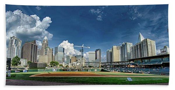 Bbt Baseball Charlotte Nc Knights Baseball Stadium And City Skyl Beach Towel