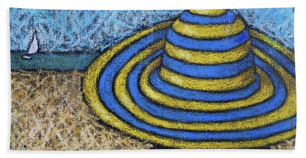 Beach Hat Blue And Yellow Beach Towel