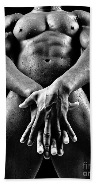 Beautiful Man Nude Or Naked With Great Sexy Body. Image In Black And White Beach Sheet
