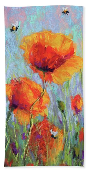 Bees And Poppies Beach Towel