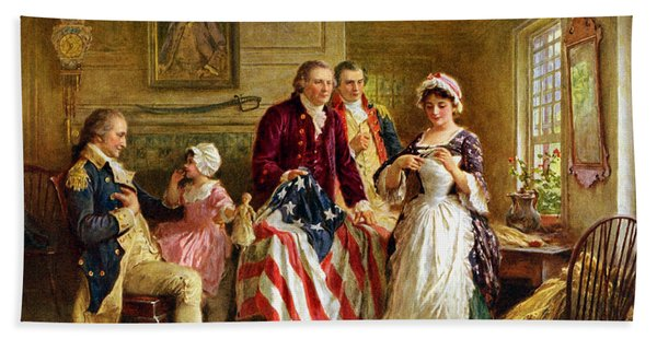 Betsy Ross And General George Washington Beach Towel