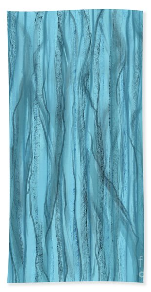 Birch Trees In Blue Light Beach Towel
