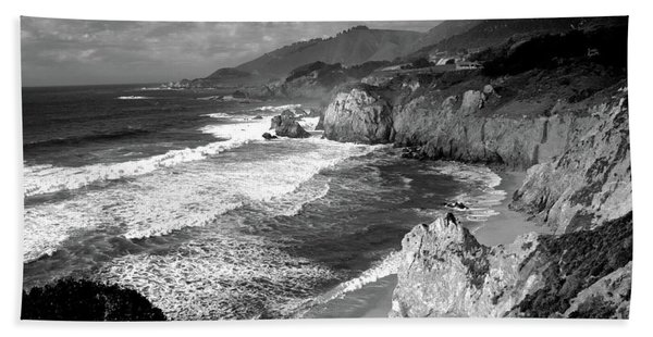 Black And White Big Sur Beach Towel