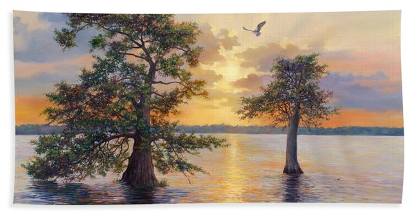Blue Cypress Sunset Beach Towel