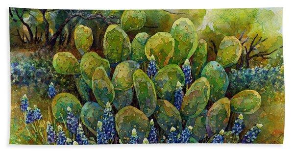 Bluebonnets And Cactus 2 Beach Sheet