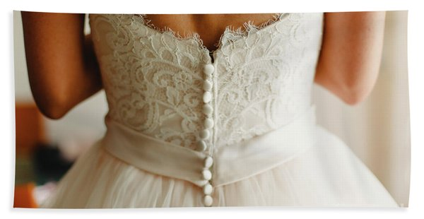 Bride Getting Ready, They Help Her By Buttoning The Buttons On The Back Of Her Dress. Beach Towel