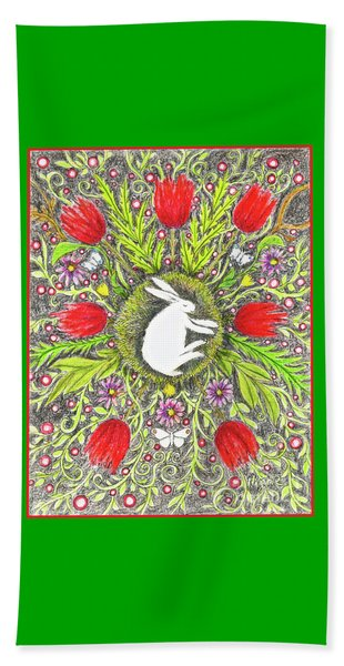 Bunny Nest With Red Flowers And White Butterflies Beach Towel