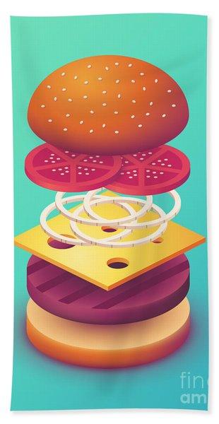 Burger Isometric Deconstructed - Mint Beach Towel