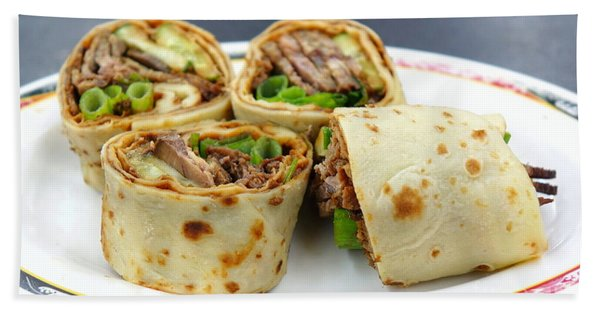 Chinese Pancake Roll With Cooked Beef Beach Towel